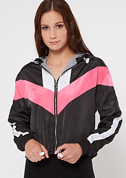 Fuchsia Chevron Colorblock Hooded Windbreaker