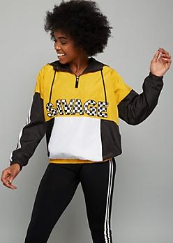 Mustard Savage Checkered Print Colorblock Half Zip Windbreaker