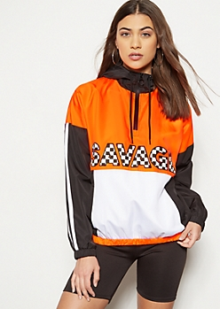 Neon Orange Colorblock Savage Graphic Windbreaker