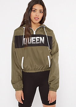 Olive Queen Colorblock Graphic Windbreaker