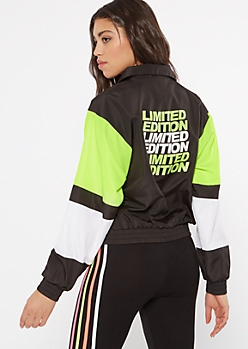 Neon Green Colorblock Windbreaker
