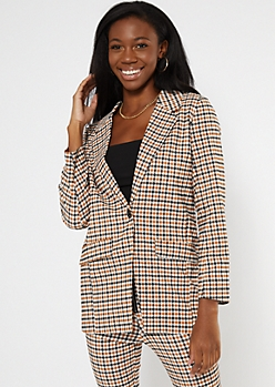 Yellow Plaid Oversize Blazer