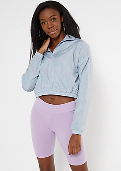 Light Blue Quarter Zip Cropped Windbreaker