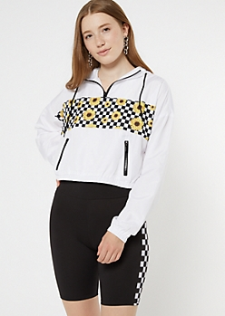 White Checkered Sunflower Skimmer Windbreaker