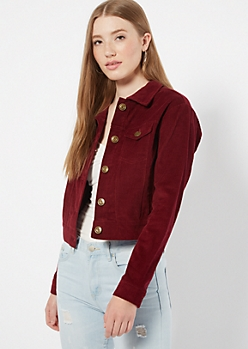 Burgundy Fitted Corduroy Jacket