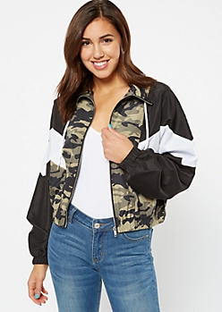 Camo Print Chevron Colorblock Windbreaker