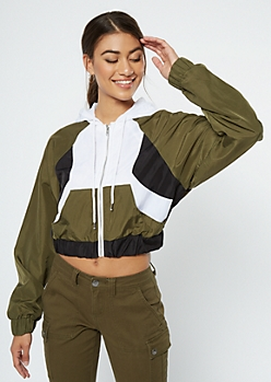 Olive Colorblock Queen Graphic Windbreaker