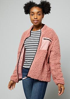 Pink Sherpa Reversible Zip Front Windbreaker