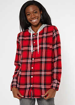 Red Plaid Print Sherpa Lined Hooded Jacket