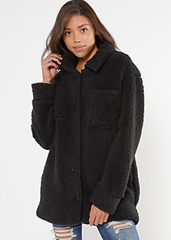 Black Cozy Sherpa Oversized Shacket