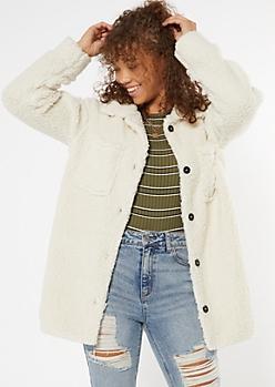 Ivory Cozy Sherpa Oversized Shacket