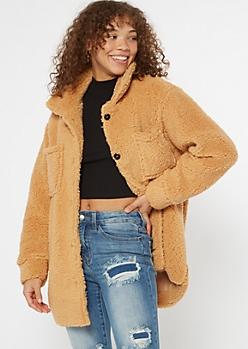 Camel Cozy Sherpa Oversized Shacket