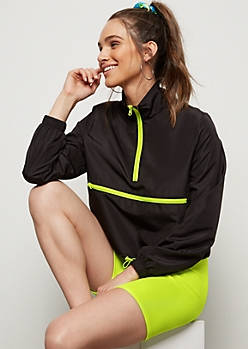 Neon Green Drawstring Hem Windbreaker
