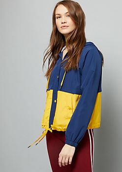Blue Colorblock Zip Front Windbreaker