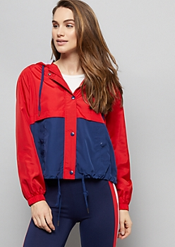 Red Colorblock Zip Front Hooded Windbreaker
