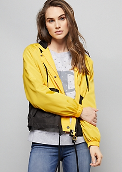 Yellow Colorblock Zip Front Hooded Windbreaker
