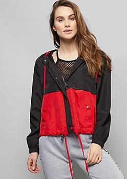 Red Colorblock Zip Front Hooded Windbreaker