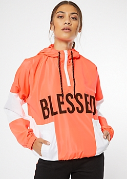 Neon Coral Colorblock Blessed Graphic Windbreaker