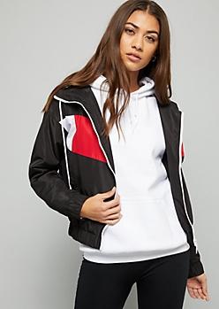 Black Colorblock Zip Front Hooded Windbreaker