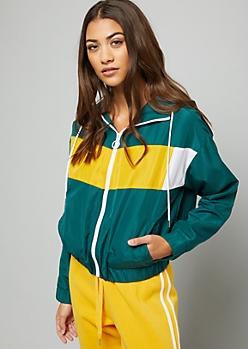 Green Colorblock Zip Front Hooded Windbreaker