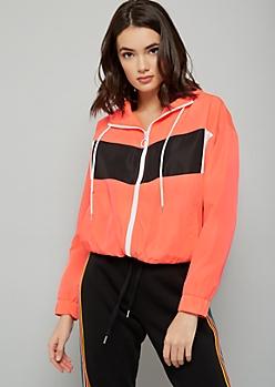Neon Coral Colorblock Zip Front Hooded Windbreaker