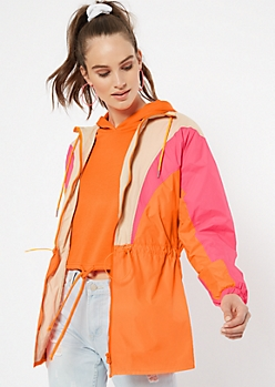 Neon Pink Colorblock Drawstring Anorak Windbreaker