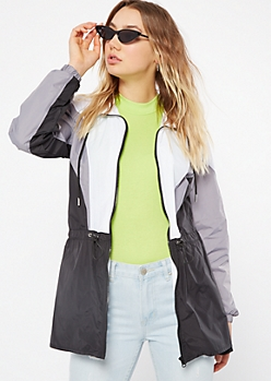 Black Colorblock Drawstring Anorak Windbreaker