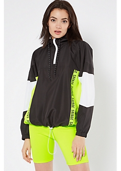 Black Neon Savage Striped Colorblock Windbreaker