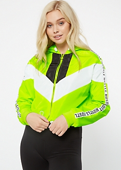 Neon Green Colorblock Hustle Striped Windbreaker