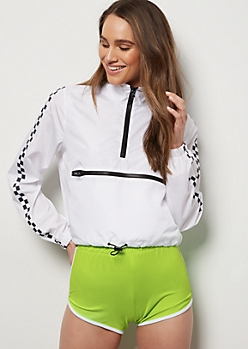 White Checkered Print Side Striped Windbreaker