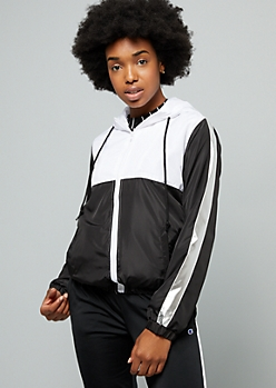 White Colorblock Side Striped Zip Front Windbreaker