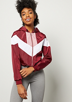 Burgundy Colorblock Cropped Windbreaker