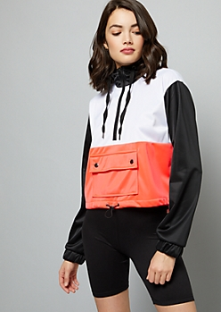 Neon Coral Colorblock Front Pocket Skimmer Hoodie