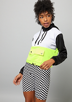 Neon Yellow Colorblock Front Pocket Hoodie