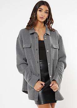 Charcoal Gray Oversize Fleece Shirt Jacket