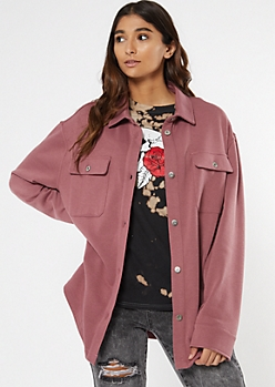 Dusty Pink Oversize Fleece Shirt Jacket
