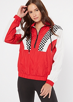 Red Checkered Print Colorblock Half Zip Windbreaker