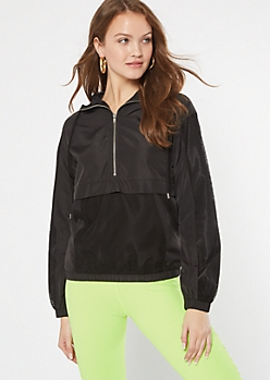 Black Mesh Half Zip Windbreaker