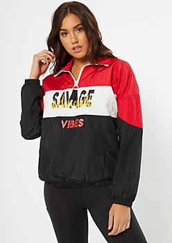 Red Colorblock Savage Vibes Graphic Windbreaker