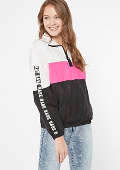 Hot Pink Colorblock Babe Half Zip Windbreaker