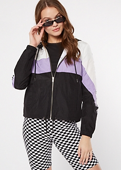 Purple Colorblock Good Vibes Hooded Windbreaker