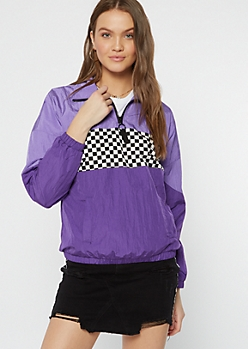Purple Checkered Print Colorblock Windbreaker