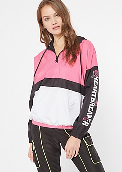 Pink Colorblock Heartbreaker Hooded Windbreaker