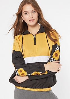 Black Colorblock Checkered Sunflower Print Windbreaker