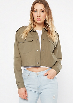 Olive Button Down Twill Anorak Jacket