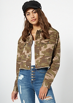 Camo Print Button Down Twill Anorak Jacket
