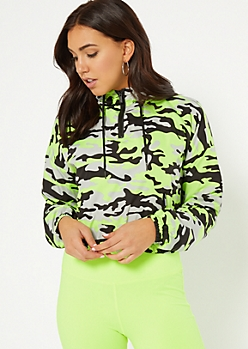 Green Camo Print Cropped Windbreaker