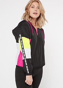 Black Neon Colorblock Sherpa Lined Windbreaker