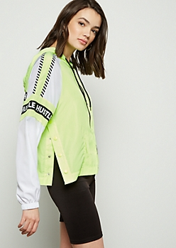 Neon Yellow Colorblock Hustle Striped Windbreaker