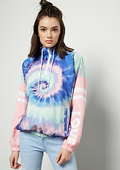 Rainbow Tie Dye Colorblock Love Windbreaker